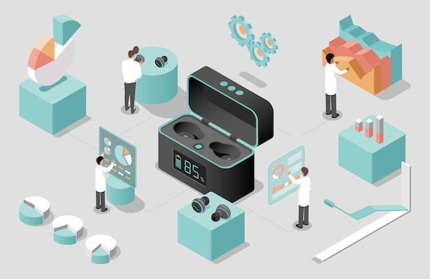 Wissenschaftler entwickeln drahtlose kopfhörer Premium Vektoren