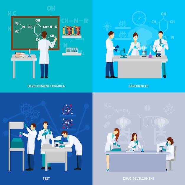 Wissenschaftler flat set Kostenlosen Vektoren