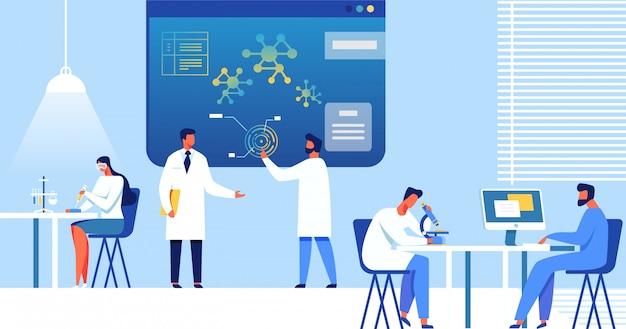 Wissenschaftler im labor, nanotechnologie. Premium Vektoren