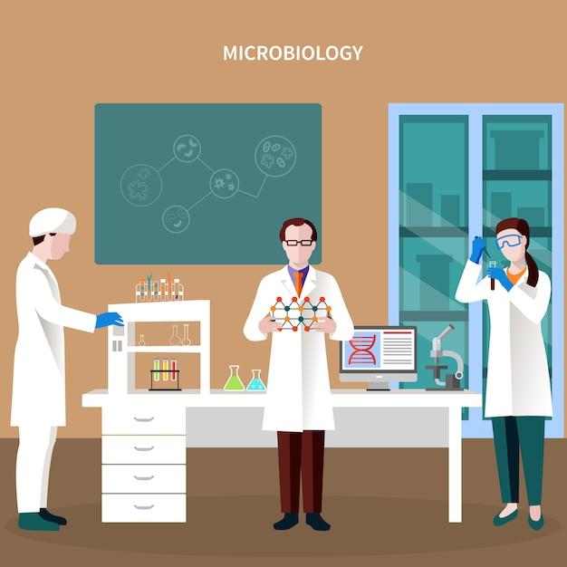Wissenschaftler-leute-flache zusammensetzung Kostenlosen Vektoren