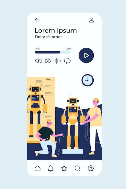 Wissenschaftler und ingenieure entwickeln und konstruieren humanoide roboter. Premium Vektoren