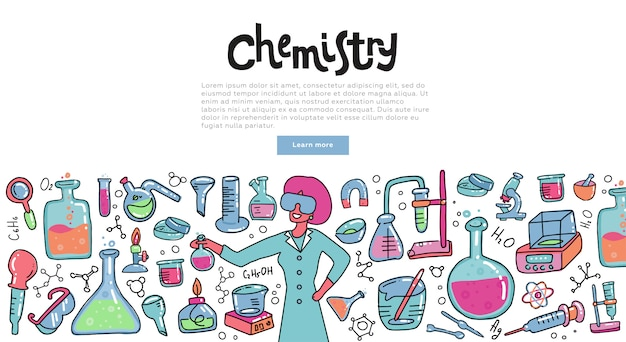Wissenschaftlerfrau mit einem chemieglas chemische reaktion erklärend. bildungskonzept der chemiewissenschaft für fahnen. Premium Vektoren