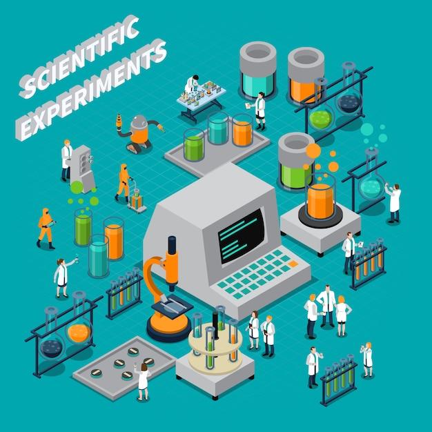 Wissenschaftliche experimente isometrische zusammensetzung Kostenlosen Vektoren