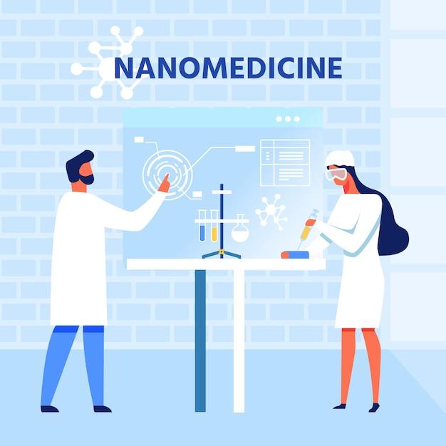 Wissenschaftliche forschung in der nanomedizin Premium Vektoren