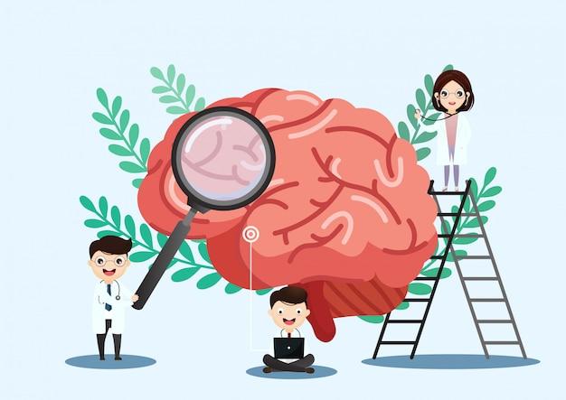 Wissenschaftliche medizinische illustration des anschlags des menschlichen gehirns Premium Vektoren