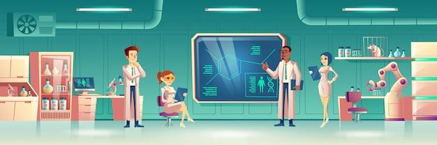 Wissenschaftlicher laborinnenraum mit wissenschaftlern Kostenlosen Vektoren