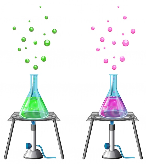 Wissenschaftliches experiment mit chemikalien Kostenlosen Vektoren