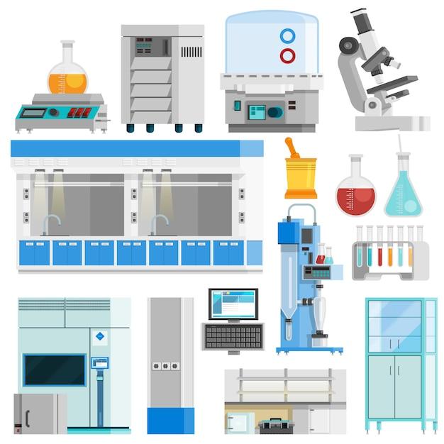 Wissenschafts-flache farbe lokalisierte ikonen Kostenlosen Vektoren