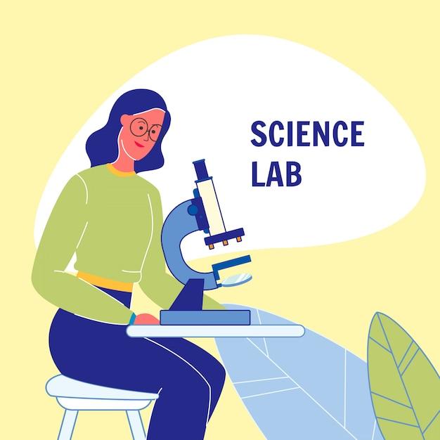 Wissenschafts-laborflaches vektor-plakat mit text Premium Vektoren