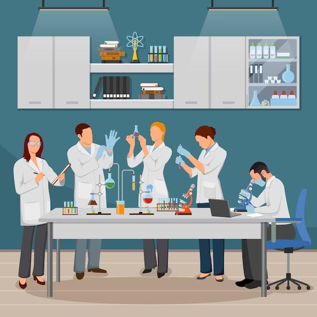 Wissenschafts- und laborillustration Kostenlosen Vektoren