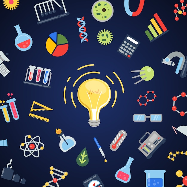 Wissenschaftsikonen, die um glühlampe fliegen Premium Vektoren