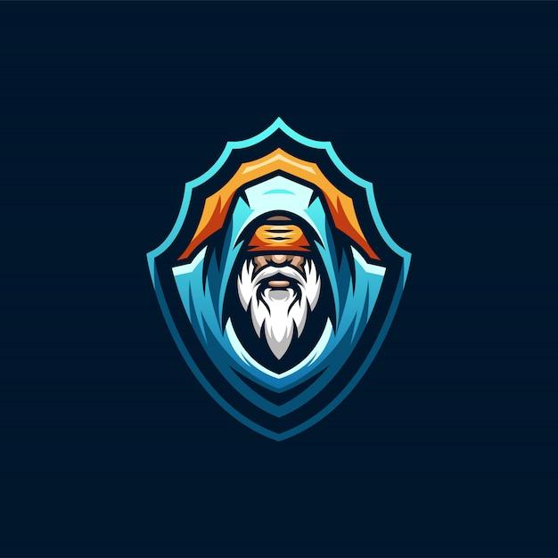 Wizard esports logo design Premium Vektoren