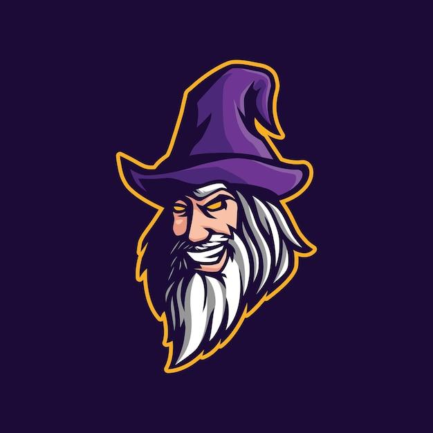 Wizard maskottchen logo design Premium Vektoren