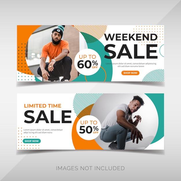 Wochenendverkauf banner vorlage Premium Vektoren