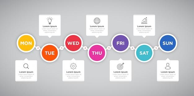 Wochenplaner business infographic kreis präsentation Premium Vektoren