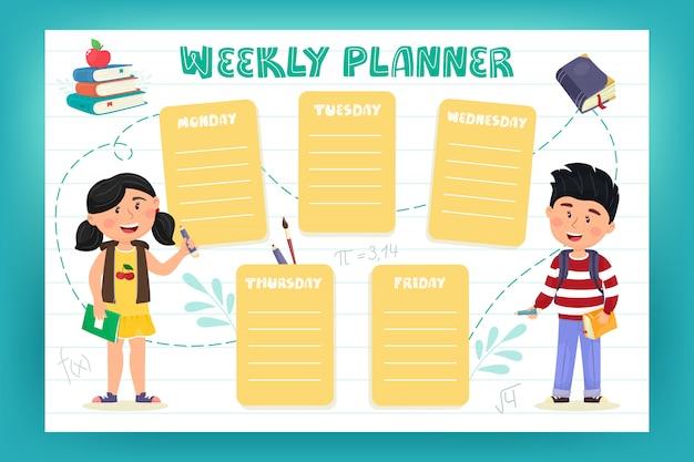Wochenplaner für schulkinder. illustration im flachen stil der karikatur. zurück zur schule. Premium Vektoren