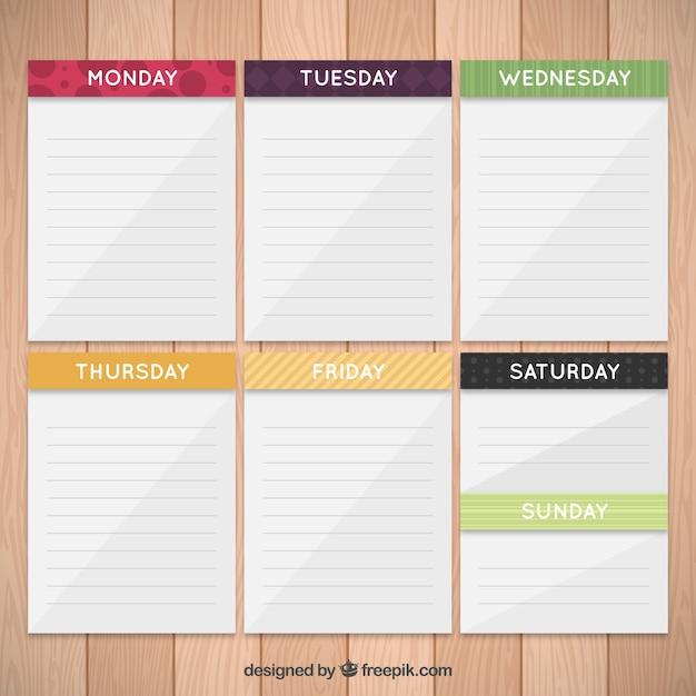 Wochenplaner In Papier Notizen Download Der Premium Vektor