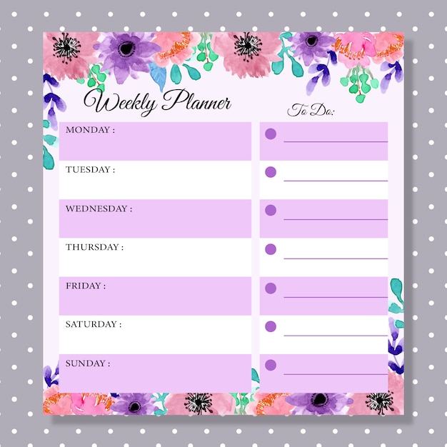 Wochenplaner mit aquarellblumenlila Premium Vektoren