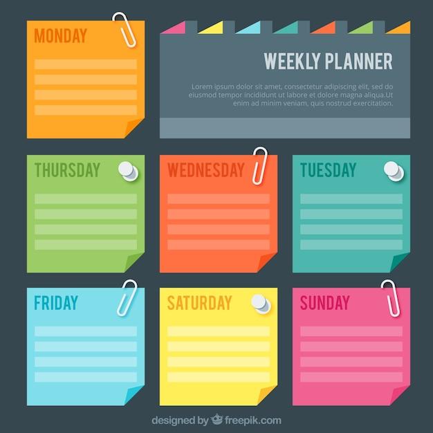 Wochenplaner mit colores post-it Kostenlosen Vektoren