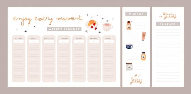 Wochenplaner mit motivationsphrasen. genieße jeden moment, liebe dich selbst, glaube an dich. wunschliste, liste zu tun Premium Vektoren