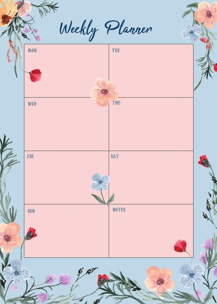 Wochenplaner mit schönen blumen aquarell Premium Vektoren