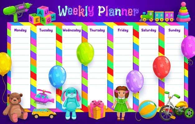 Wochenplaner oder stundenplanvorlage mit kinderspielzeug. täglicher veranstalter, um liste, tagesordnung und ziele, tagebuch, notiz und aufgabenerinnerung mit ball, puppe und luftballons, geschenk, auto und zug zu erledigen Premium Vektoren
