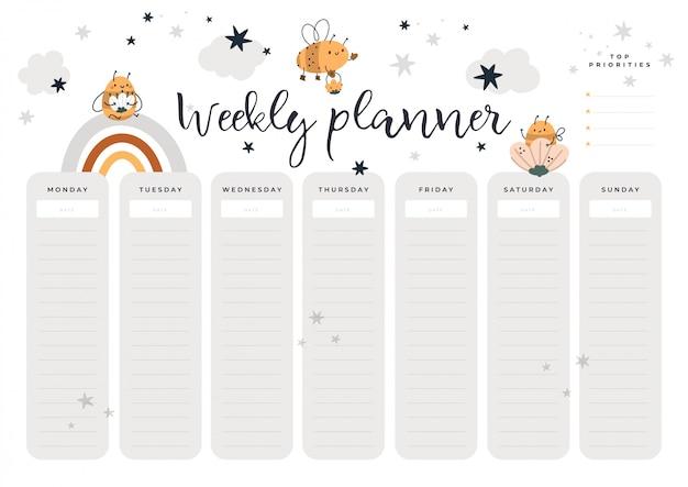 Wochenplaner seite mit baby honigbienen im cartoon-stil. student, kinder, schreibwaren digitaldruck Premium Vektoren