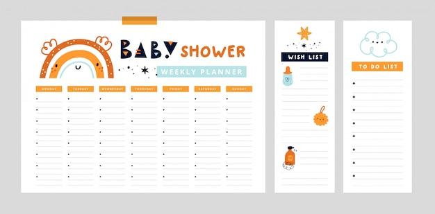 Wochenplanerseite mit niedlichem regenbogen. veranstalter für mama und baby. babydusche Premium Vektoren