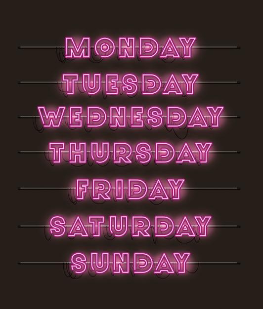 Wochentage setzen schriftarten neonlichter Premium Vektoren