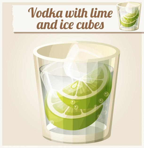 Wodka mit limetten- und eiswürfeln. detailliertes vektorsymbol Premium Vektoren
