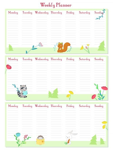 Wöchentliche planervektorschablone mit netten tieren Premium Vektoren