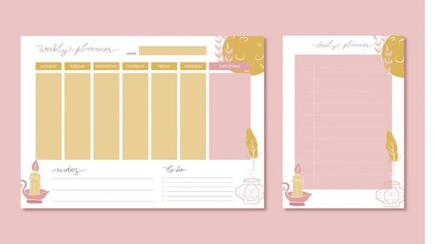 Wöchentlicher und täglicher planer mit von hand gezeichneter illustration Premium Vektoren
