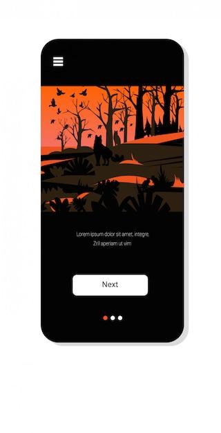 Wölfe, die von den waldbränden in australien-verheerenden feuervögeln fliegen über das naturkatastrophenkonzept der brennenden bäume des buschfeuers intensive orange flammen smartphone-schirm bewegliche app Premium Vektoren