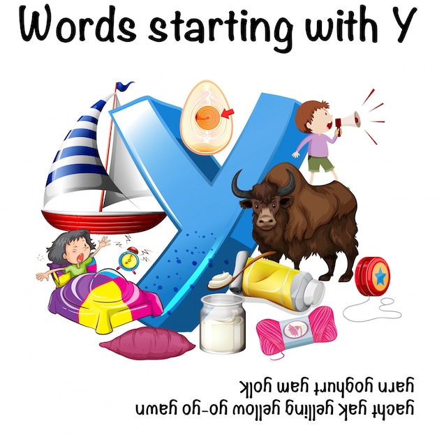 Wörter Die Mit Y Auf Weißem Hintergrund Anfangen Download Der