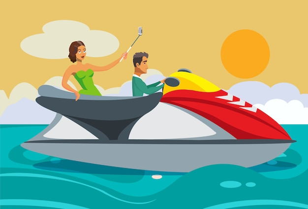Wohlhabende frau und mann, die jet ski cartoon reiten. Premium Vektoren