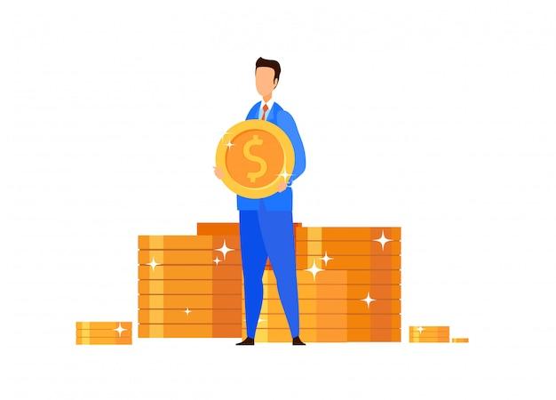 Wohlhabender geschäftsmann, banker-vektor-illustration Premium Vektoren