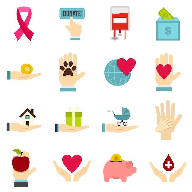 Wohltätigkeit flache ikonen Premium Vektoren