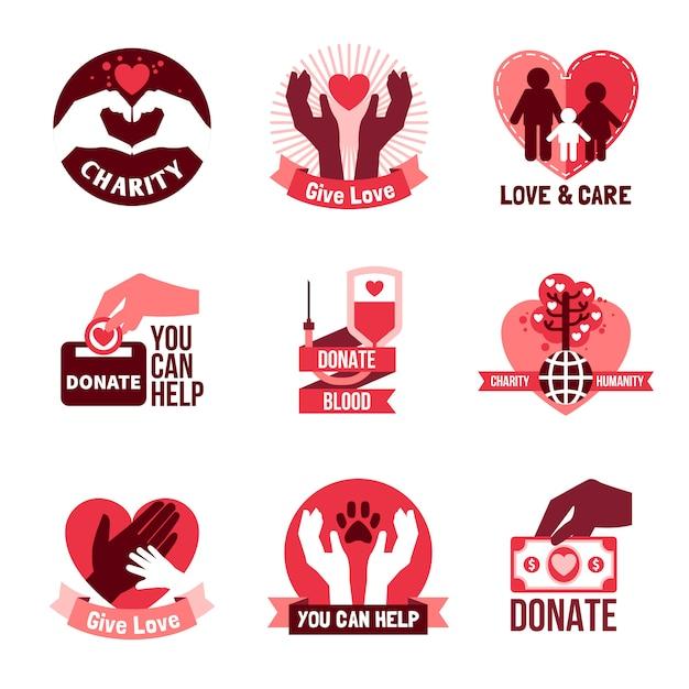 Wohltätigkeits-logo-embleme eingestellt Kostenlosen Vektoren