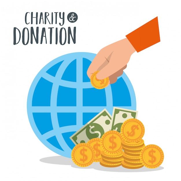 Wohltätigkeitsspende mit kugel und münzen Kostenlosen Vektoren