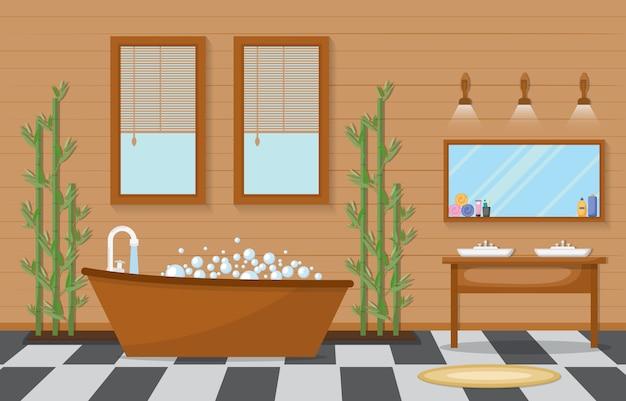 Wohn möbliertes badezimmer Premium Vektoren
