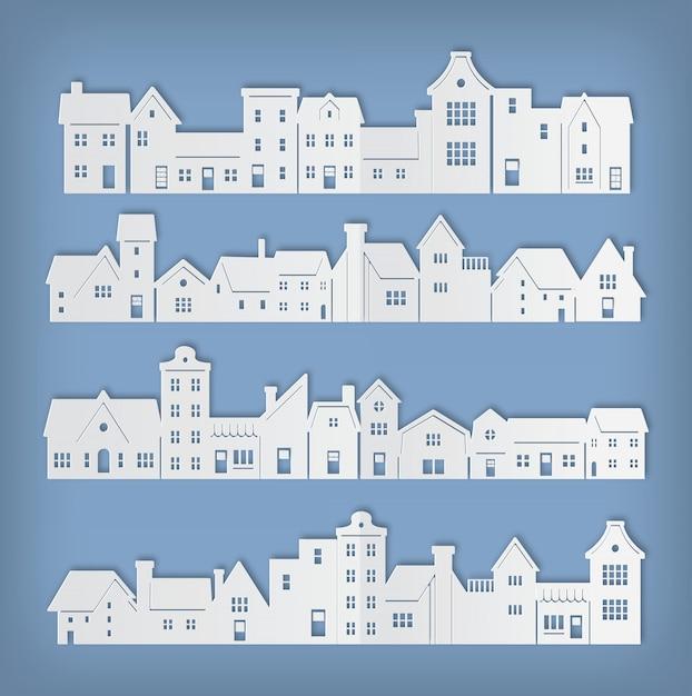 Wohngebäude in der papierkunstvektorillustration Premium Vektoren
