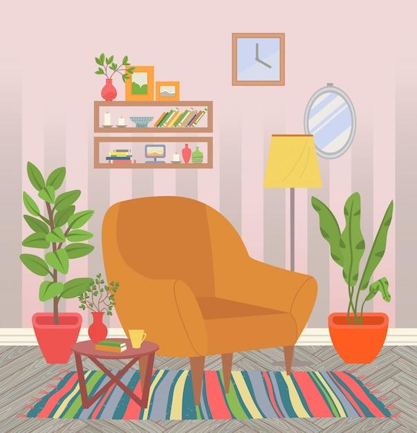 Wohngebäude, stuhl mit zimmerpflanzen und teppich Premium Vektoren