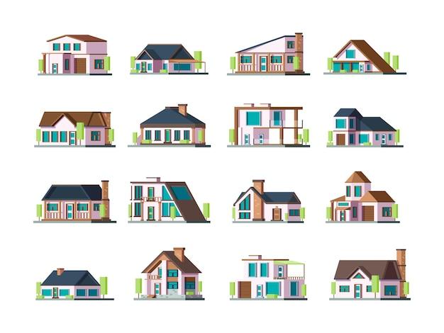 Wohnhaus. sammlung von modernen stadthäusern außerhalb des dorfgebäudes. illustration gebäudedorf, wohnhaus Premium Vektoren