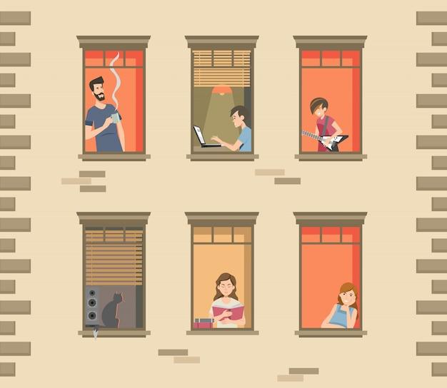Wohnhausfassade mit nachbarn und katzen Kostenlosen Vektoren