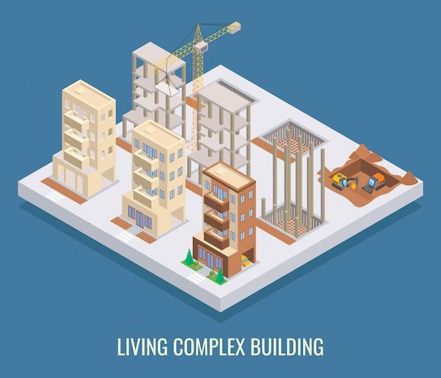 Wohnkomplex gebäude flach isometrisch Premium Vektoren