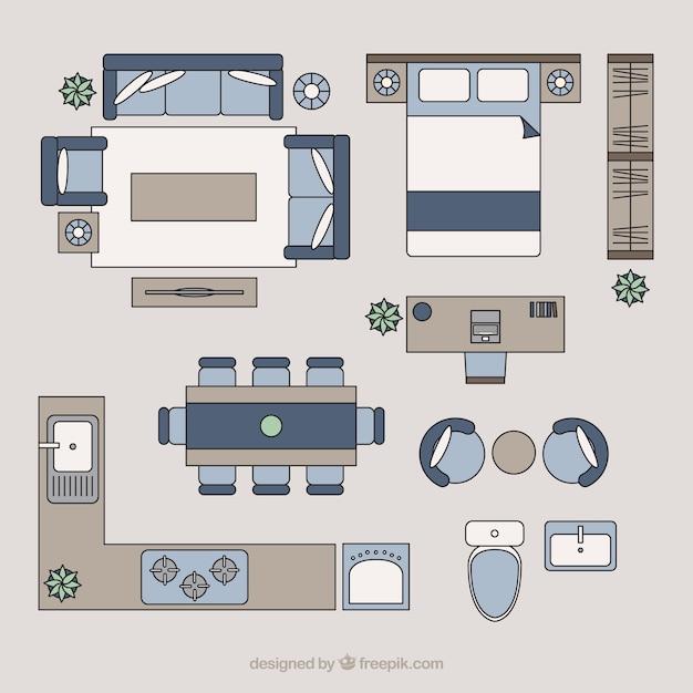 Wohnmöbel in der Draufsicht | Download der Premium Vektor