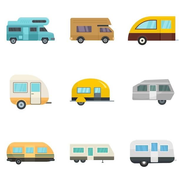 Wohnmobil-anhänger hausikonen eingestellt Premium Vektoren