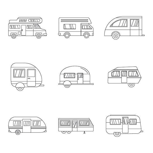 Wohnmobil-anhängerikonen eingestellt Premium Vektoren
