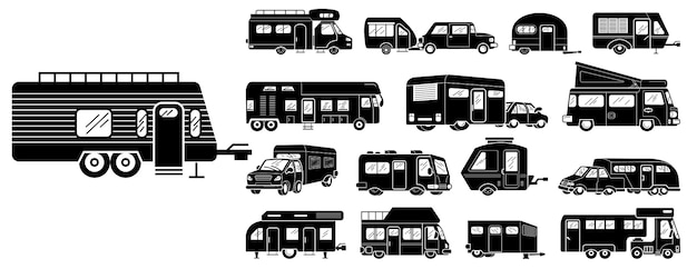 Wohnmobil symbole festgelegt Premium Vektoren