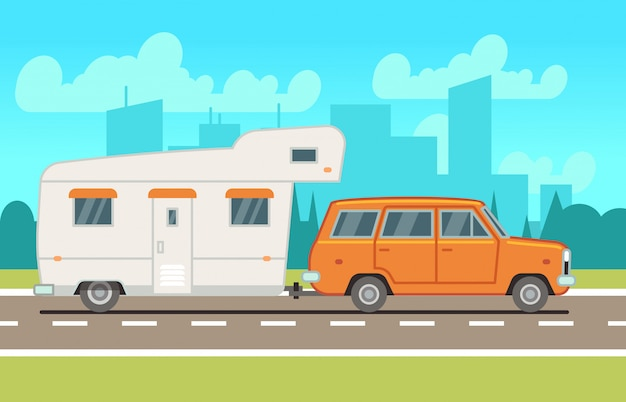 Wohnmobil wohnwagenanhänger auf der straße Premium Vektoren